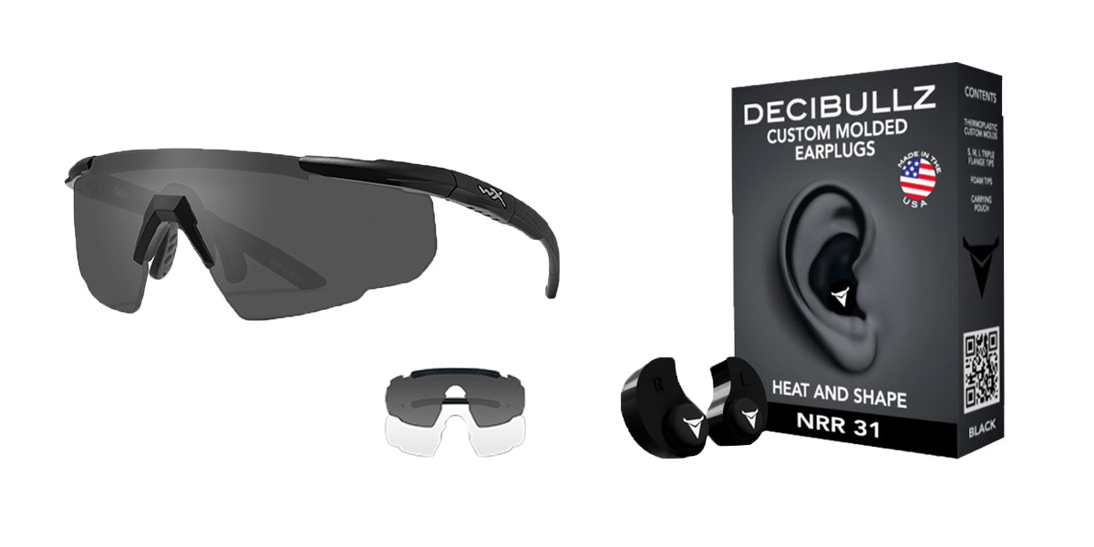 Delta Deals Shooter Safety Packs Featuring Decibullz Custom Molded Earplugs - Black + Wiley X Saber Safety Glasses - Black