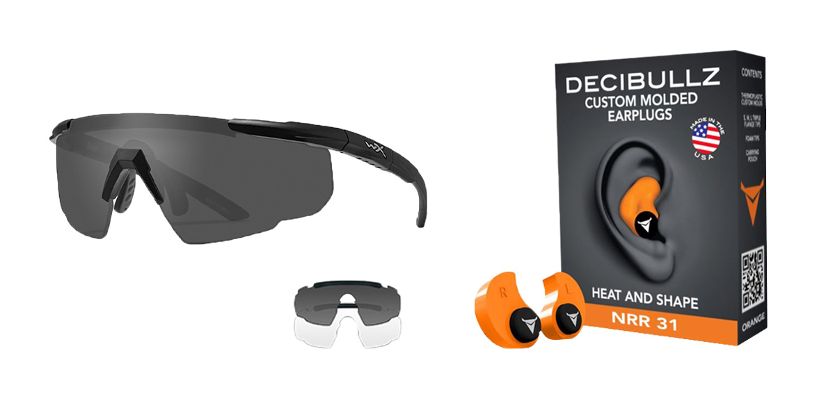 Delta Deals Shooter Safety Packs Featuring Decibullz Custom Molded Earplugs - Orange + Wiley X Saber Safety Glasses - Black