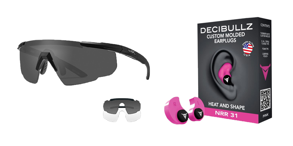Delta Deals Shooter Safety Packs Featuring Decibullz Custom Molded Earplugs - Pink + Wiley X Saber Safety Glasses - Black