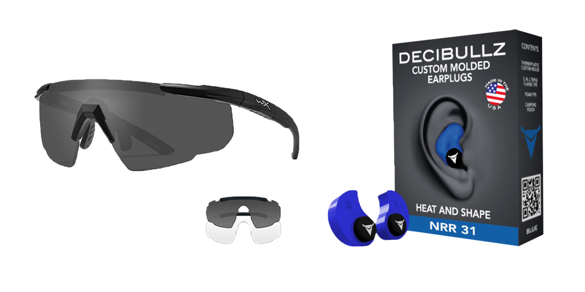 Delta Deals Shooter Safety Packs Featuring Decibullz Custom Molded Earplugs - Blue + Wiley X Saber Safety Glasses - Black
