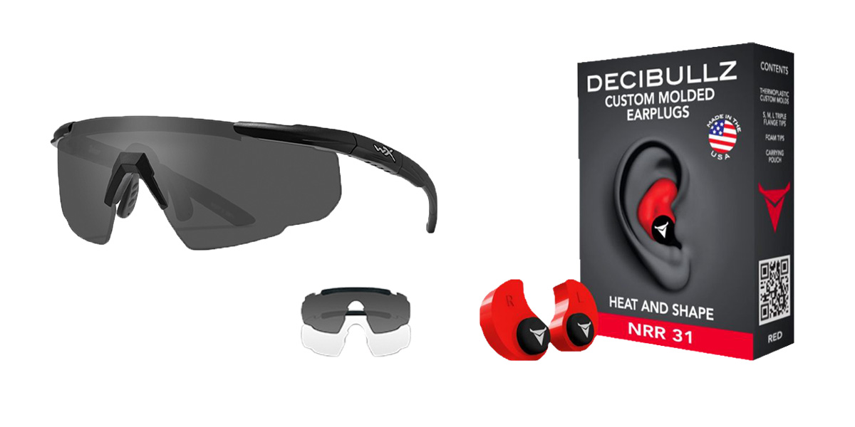 Delta Deals Shooter Safety Packs Featuring Decibullz Custom Molded Earplugs - Red + Wiley X Saber Safety Glasses - Black