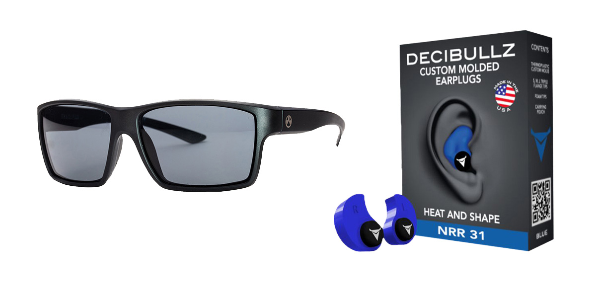 Delta Deals Shooter Safety Packs Featuring Decibullz Custom Molded Earplugs - Blue + Magpul Industries Explorer Glasses - Matte Black