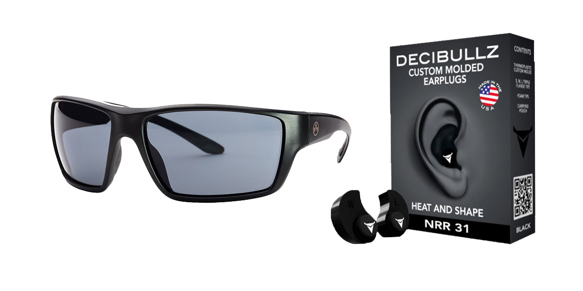 Delta Deals Shooter Safety Packs Featuring Decibullz Custom Molded Earplugs - Black + Magpul Terrain Glasses - Matte Black