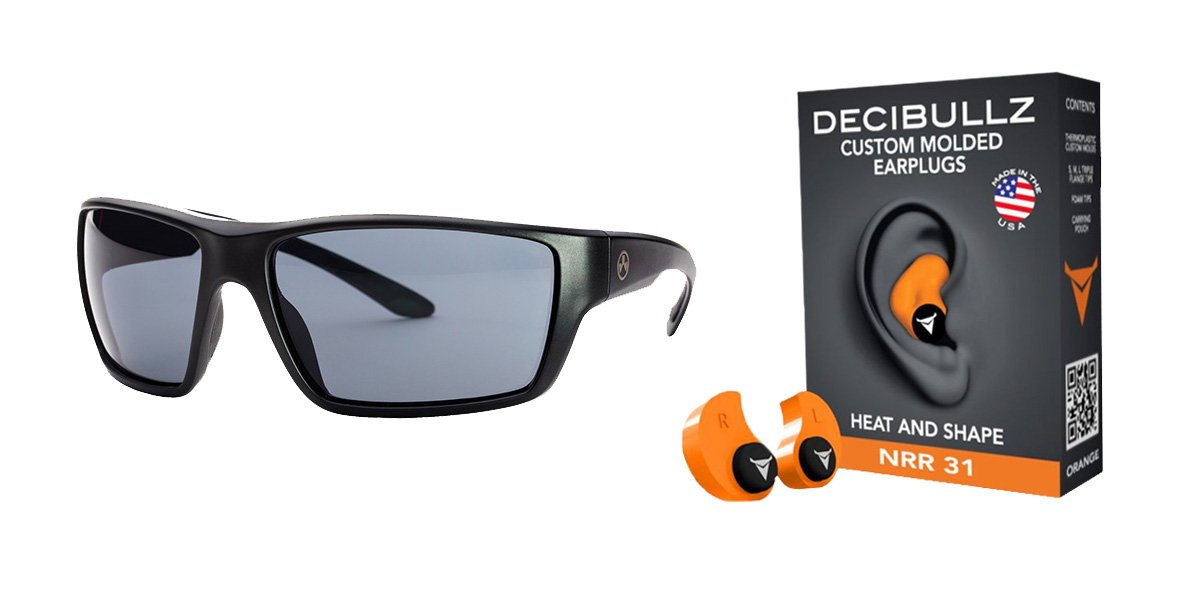 Delta Deals Shooter Safety Packs Featuring Decibullz Custom Molded Earplugs - Orange + Magpul Terrain Glasses - Matte Black