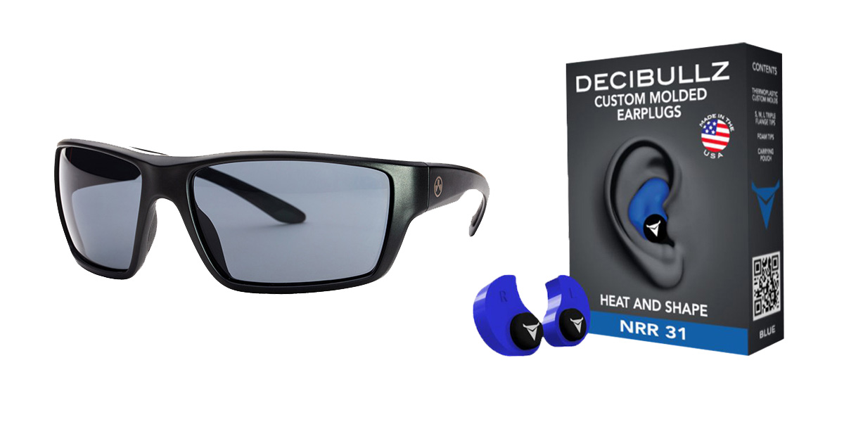 Delta Deals Shooter Safety Packs Featuring Decibullz Custom Molded Earplugs - Blue + Magpul Terrain Glasses - Matte Black