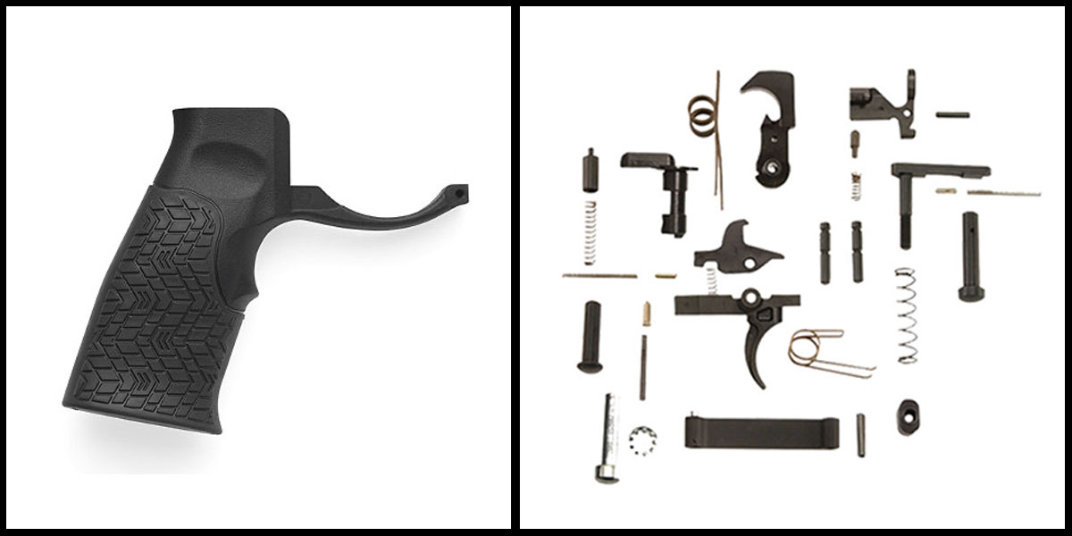 Delta Deals KAK AR-15 Lower Parts Kit w/ no Grip + Daniel Defense Pistol Grip w/ Trigger Guard - Black