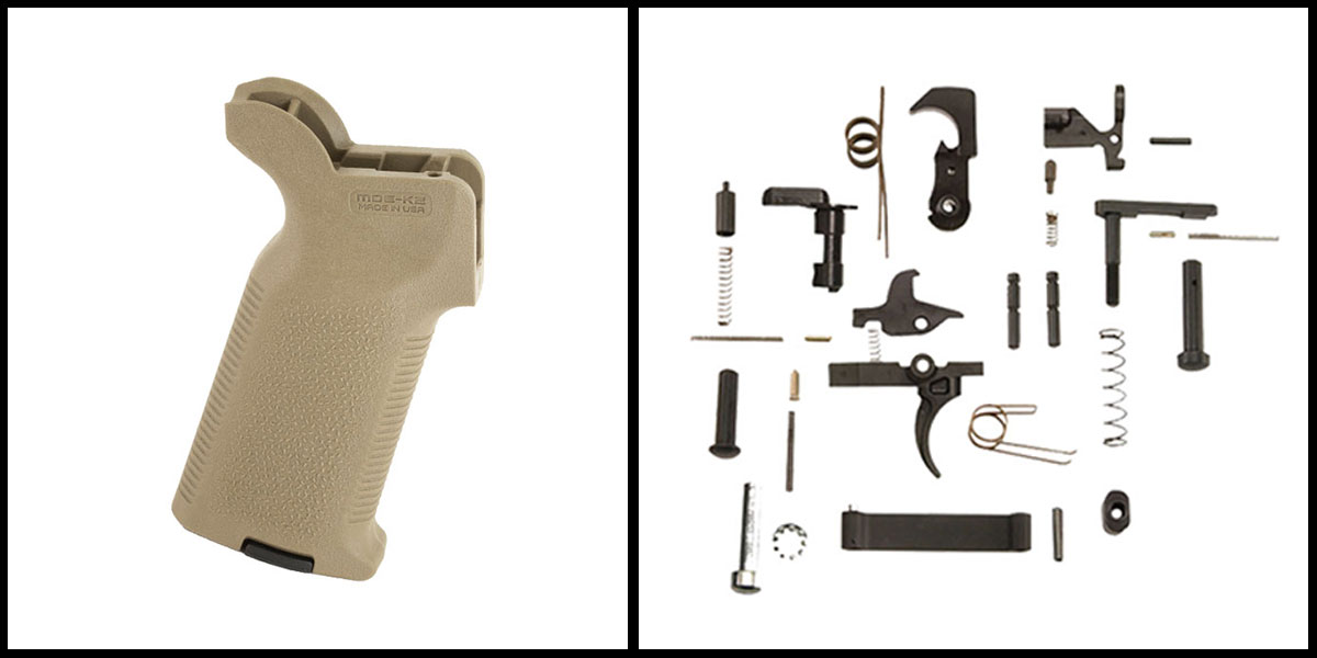 Delta Deals KAK AR-15 Lower Parts Kit w/ no Grip + Magpul Industries, MOE K-2 Grip - FDE