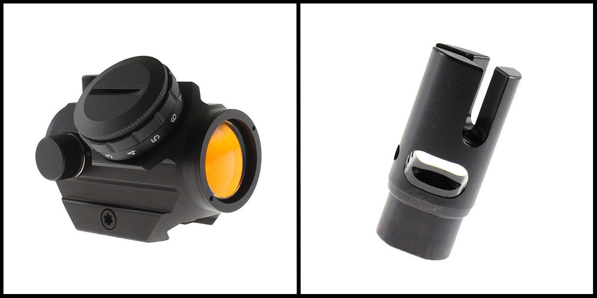 Delta Deals 23MM Objective Lens Micro Red Dot Sight w/ Low Profile 1913 Rail Mount + Three Prong Muzzle Brake with Side and Top Ports, 1/2X28