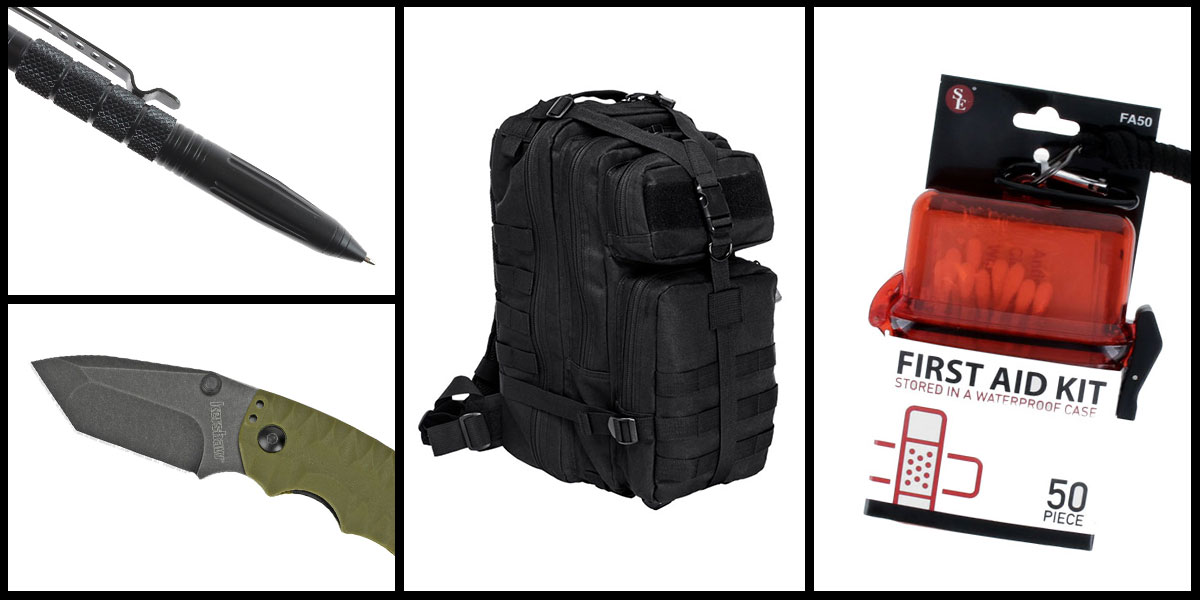 Supply Drop VISM Small Backpack - Black + Kershaw Shuffle II Folding Knife + Tactical Pen + 50 Piece First Aid Kit in a Waterproof Storage Container