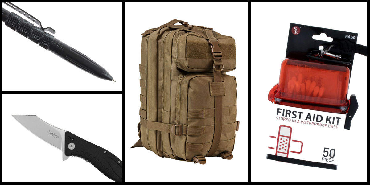Supply Drop VISM Small Backpack - Tan + Kershaw Grinder Folding Knife + Tactical Pen + 50 Piece First Aid Kit in a Waterproof Storage Container