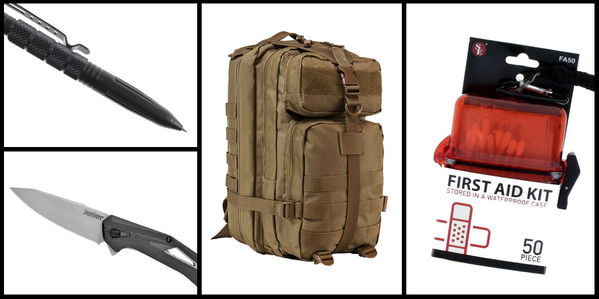 Supply Drop VISM Small Backpack - Tan + Kershaw Airlock Folding Knife + Tactical Pen + 50 Piece First Aid Kit in a Waterproof Storage Container