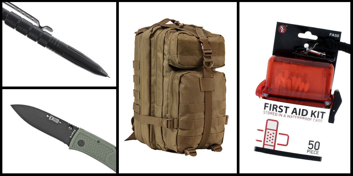Supply Drop VISM Small Backpack - Tan + KABAR Hunter Folding Knife + Tactical Pen + 50 Piece First Aid Kit in a Waterproof Storage Container