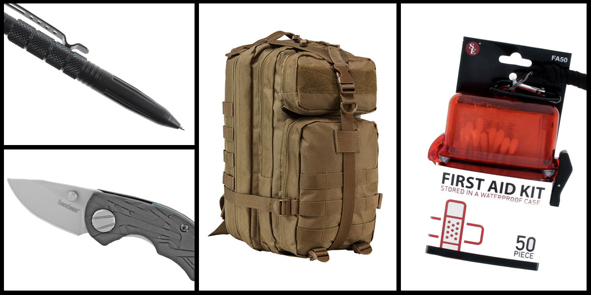 Supply Drop VISM Small Backpack - Tan + Kershaw Aftereffect Folding Knife + Tactical Pen + 50 Piece First Aid Kit in a Waterproof Storage Container